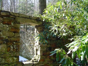 Old stone dwelling near stream