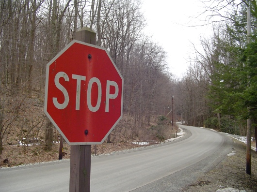 Stop sign along country road.